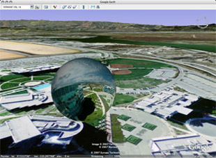 screen capture showing panorama in Google Earth