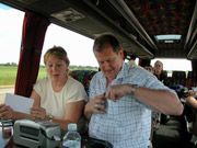 Photo of Lyn and Simon on the coach