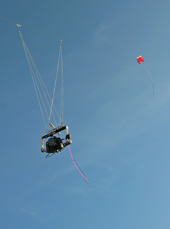 Photo of the Nikon D70s rig in flight