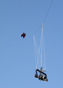 photo of the camera and rig suspended from my Sutton Flowform 30 kite